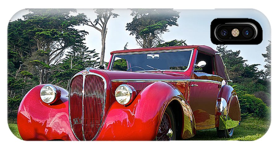 Art IPhone X Case featuring the photograph 1947 Delahaye 135m Pennock Cabriot II by Dave Koontz