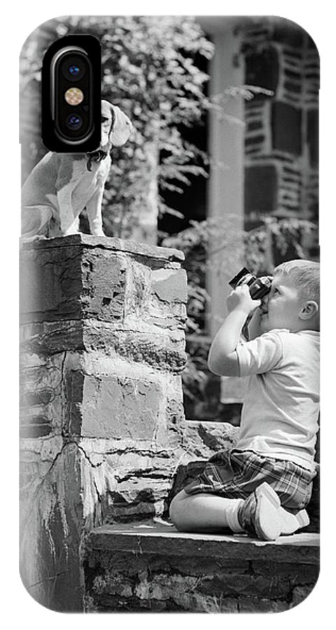 Photography IPhone X Case featuring the photograph 1950s Young Boy Kneeling On Stone by Vintage Images