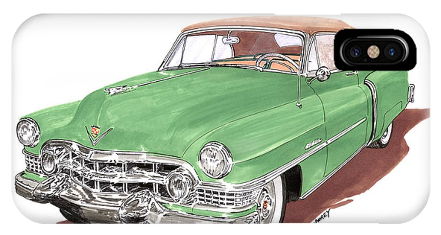 Classic Car Paintings IPhone X Case featuring the painting 1951 Cadillac Series 62 Convertible by Jack Pumphrey