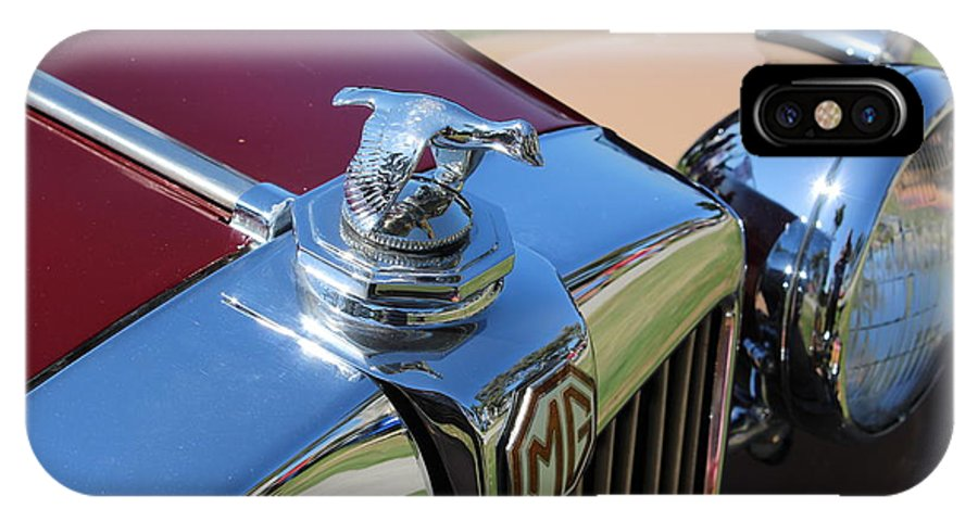 Mg IPhone X Case featuring the photograph 1951 Mg Hood Ornament by Mark Steven Burhart