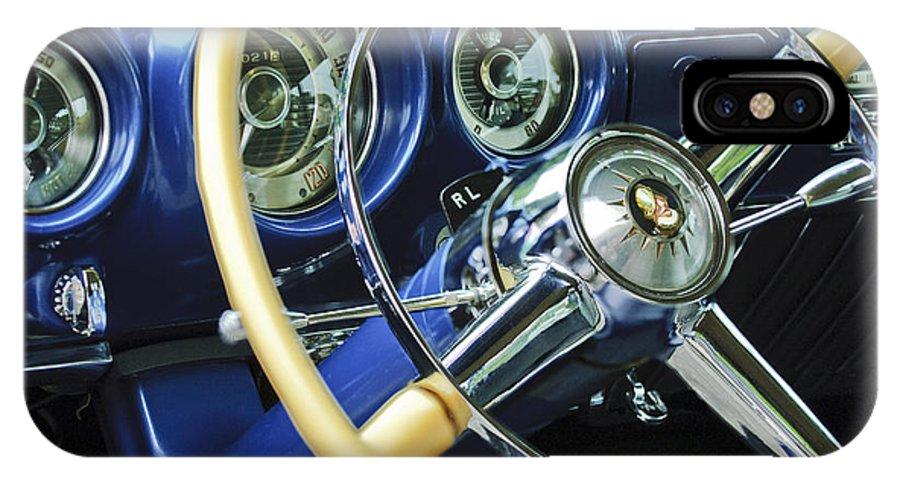 1953 Desoto Firedome Convertible IPhone X Case featuring the photograph 1953 Desoto Firedome Convertible Steering Wheel Emblem by Jill Reger