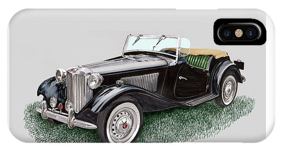 A Watercolor Painting Of A 1953 Mg Td IPhone X Case featuring the painting Mg T D 1953 by Jack Pumphrey