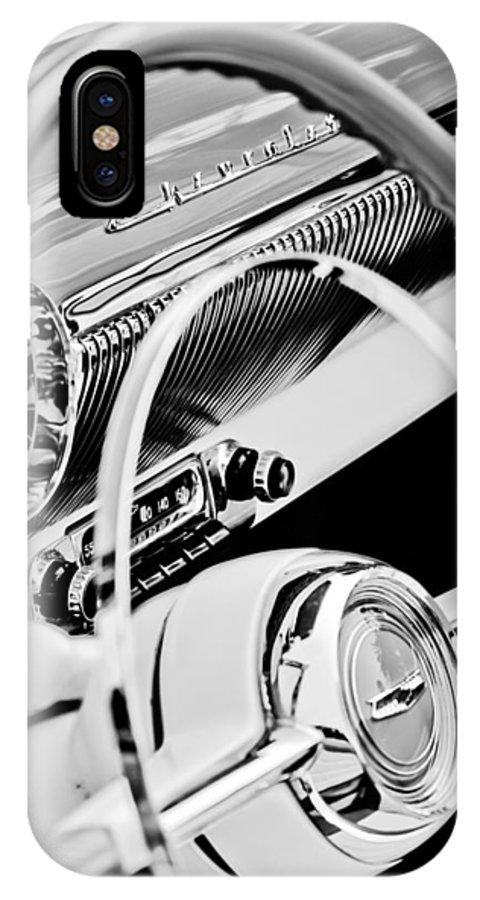 1954 Chevrolet Belair Steering Wheel Emblem IPhone X Case featuring the photograph 1954 Chevrolet Belair Steering Wheel Emblem -1535bw by Jill Reger