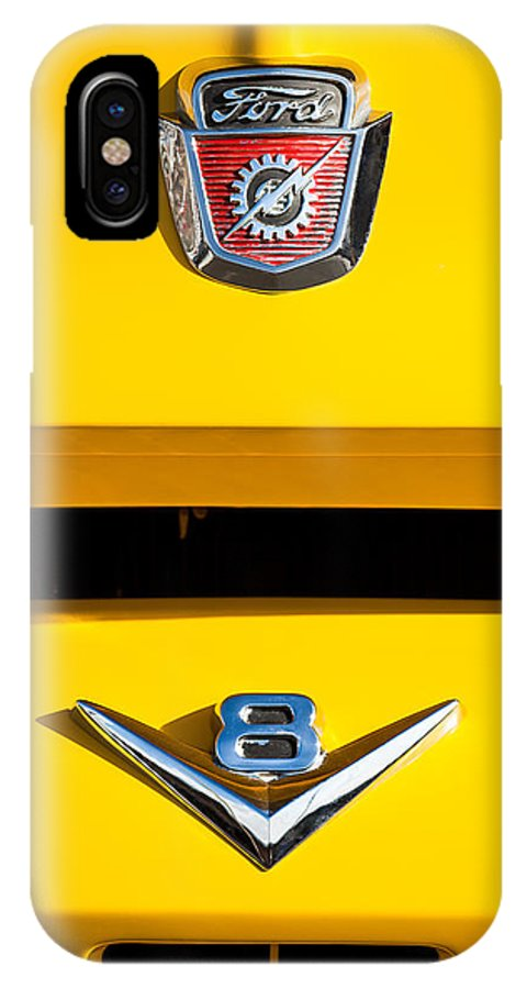 1954 Ford F-100 Custom Pickup Truck Emblems IPhone X Case featuring the photograph 1954 Ford F-100 Custom Pickup Truck Emblems by Jill Reger