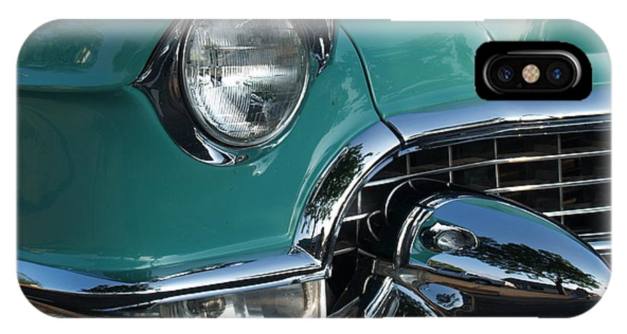 Car IPhone X Case featuring the photograph 1955 Cadillac Coupe de Ville Closeup by Anna Lisa Yoder
