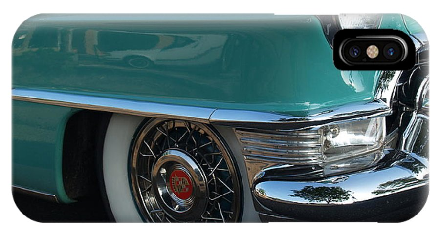 Car IPhone X Case featuring the photograph 1955 Cadillac Coupe de Ville Fender by Anna Lisa Yoder