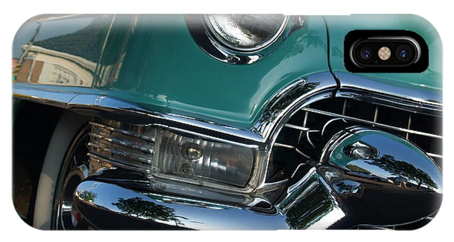 Car IPhone X Case featuring the photograph 1955 Cadillac Coupe de Ville in Motion by Anna Lisa Yoder