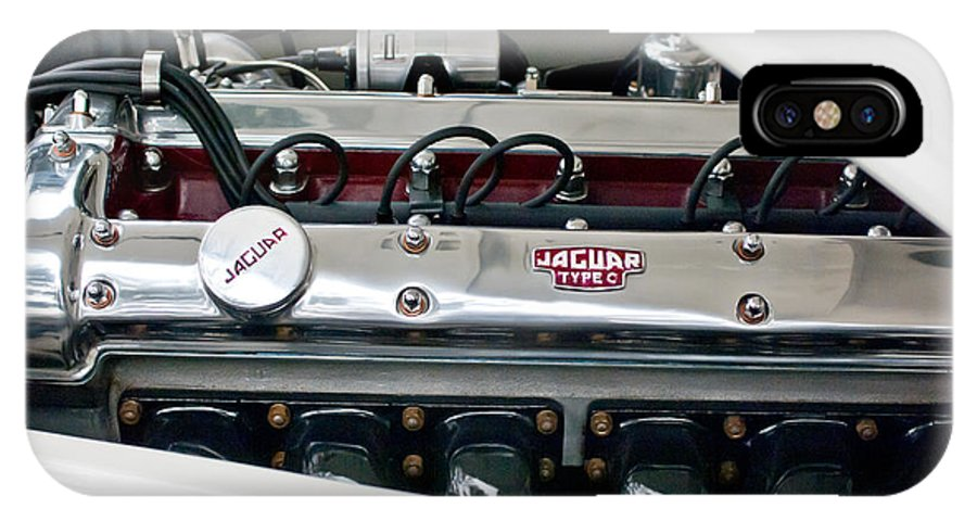 1955 Jaguar IPhone X Case featuring the photograph 1955 Jaguar Engine by Jill Reger