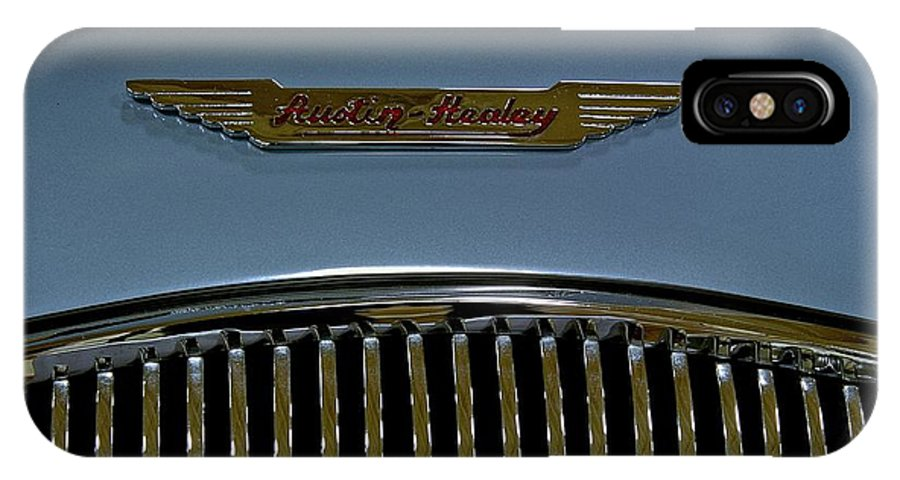 Antique IPhone X Case featuring the photograph 1956 Austin-healey Grill Hood Ornament by Michael Gordon