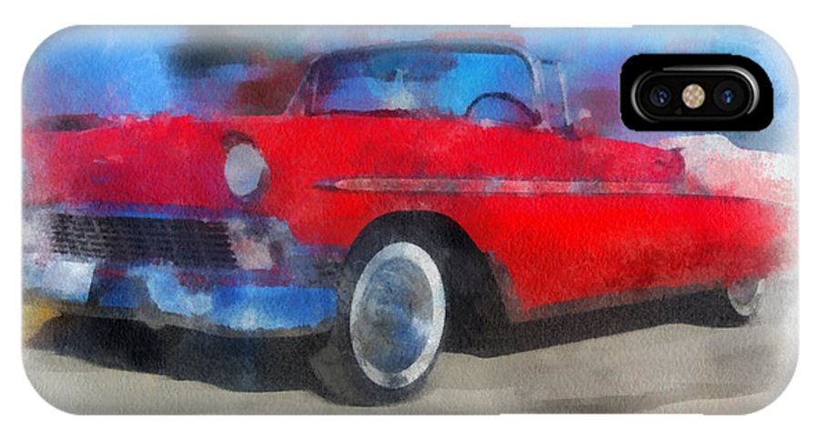 Coupe IPhone X Case featuring the photograph 1956 Chevy Car Photo Art 01 by Thomas Woolworth