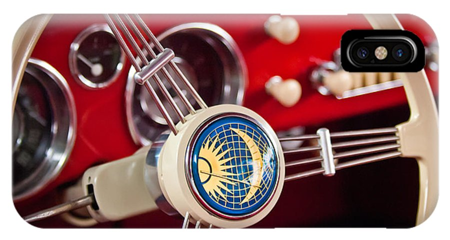 1956 Volkswagen Karmann Ghia Coupe Steering Wheel Emblem IPhone X / XS Case featuring the photograph 1956 Volkswagen Vw Karmann Ghia Coupe Steering Wheel 2 by Jill Reger