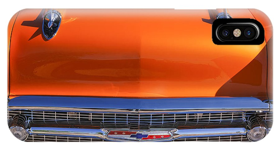 1957 Chevrolet Bel Air Hood Ornament IPhone X Case featuring the photograph 1957 Chevrolet Belair Hood Ornament - Grille Emblem -055c by Jill Reger