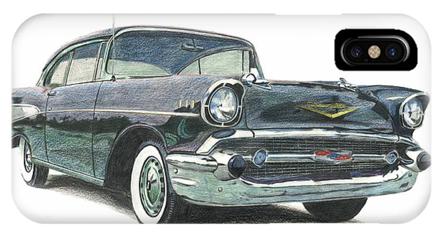 Automobiles IPhone X Case featuring the drawing 1957 Chevy by Charles L Dietz Jr