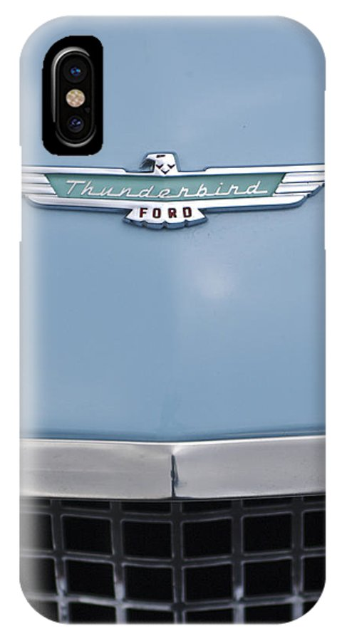 1957 Ford Thunderbird IPhone X Case featuring the photograph 1957 Ford Thunderbird Hood Ornament 2 by Jill Reger