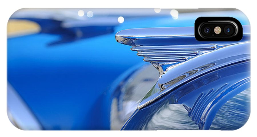 1957 Oldsmobile IPhone X Case featuring the photograph 1957 Oldsmobile Hood Ornament 3 by Jill Reger