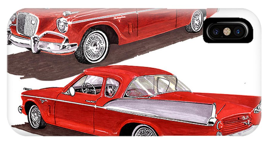 Thank You For Buying A Greeting Card Of 1957 Studebaker Silver Hawk To A Buyer From Jeffersonville IPhone X Case featuring the painting 1957 Studebaker Silver Hawk by Jack Pumphrey
