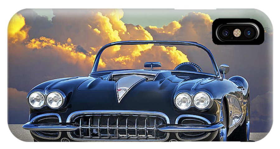 Auto IPhone X Case featuring the photograph 1958 Corvette In Clouds by Dave Koontz