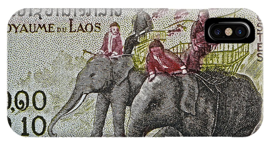 1958 IPhone X Case featuring the photograph 1958 Laos Elephant Stamp IIi by Bill Owen