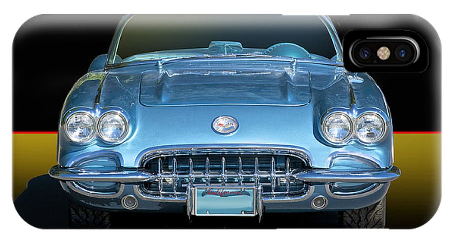 Auto IPhone X Case featuring the photograph 1959 Corvette Front View by Dave Koontz