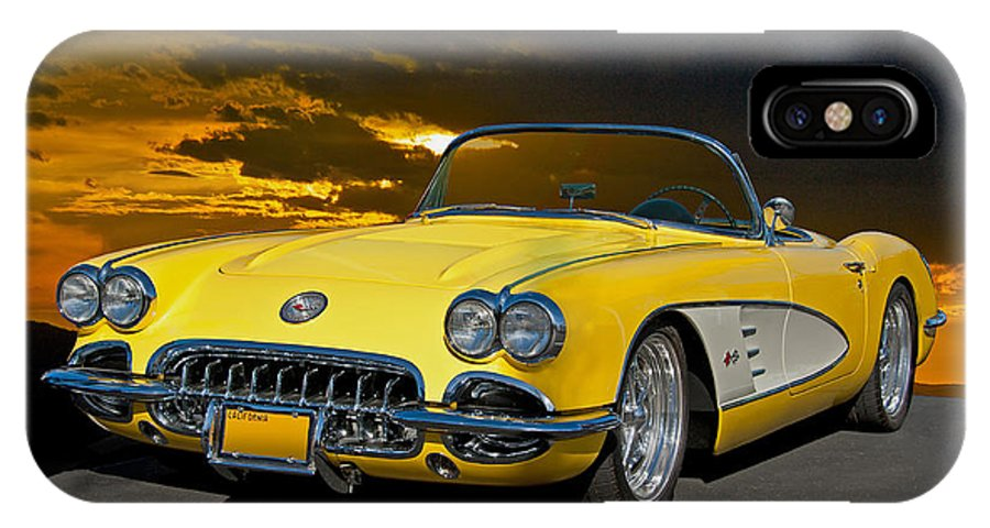 Auto IPhone X Case featuring the photograph 1959 Corvette Yellow Roadster by Dave Koontz