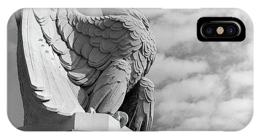 Photography IPhone X Case featuring the photograph 1960s Eagle Statue Against Sky Clouds by Vintage Images