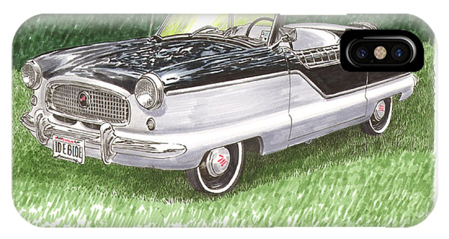 Framed Art Of The 1949 To 1961 Studebakers IPhone X Case featuring the painting 1961 Nash Metro Convertible by Jack Pumphrey