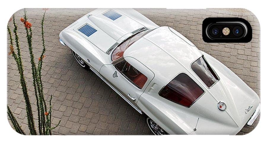 1963 Chevrolet Corvette IPhone X Case featuring the photograph 1963 Chevrolet Corvette Split Window -440c by Jill Reger