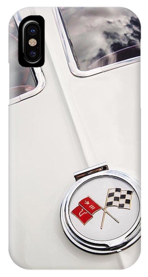 1963 Chevrolet Corvette Split Window Emblem IPhone X Case featuring the photograph 1963 Chevrolet Corvette Split Window Emblem -445c by Jill Reger