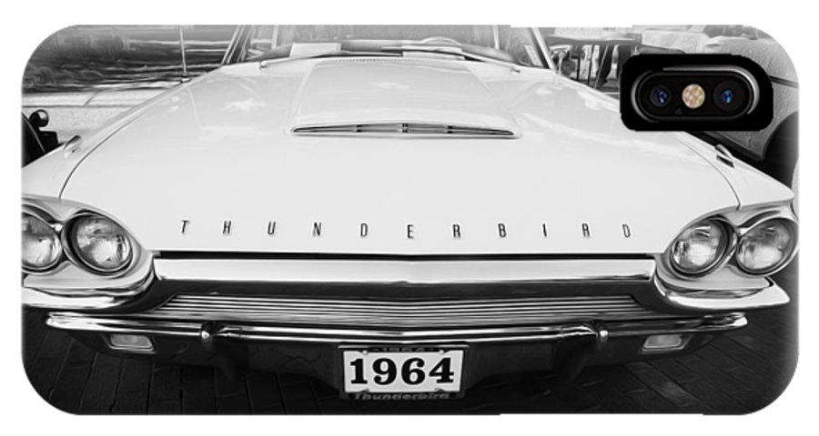 1964 Ford Thunderbird IPhone X Case featuring the photograph 1964 Ford Thunderbird Painted Bw by Rich Franco