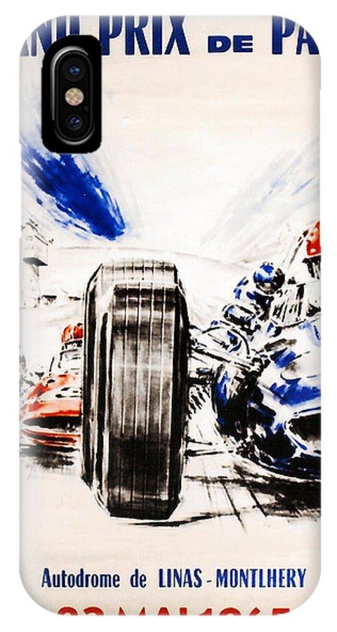 Paris Grand Prix IPhone X Case featuring the digital art 1965 Grand Prix De Paris by Georgia Fowler