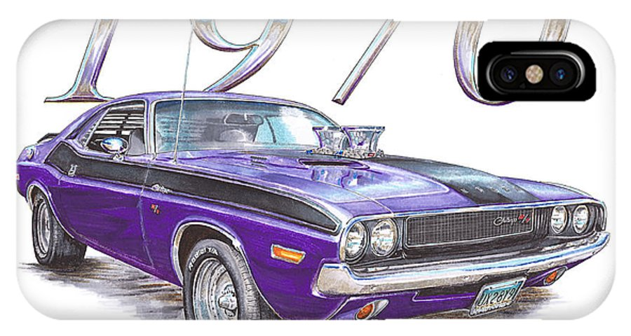 1970 IPhone X Case featuring the drawing 1970 Dodge Challenger by Shannon Watts