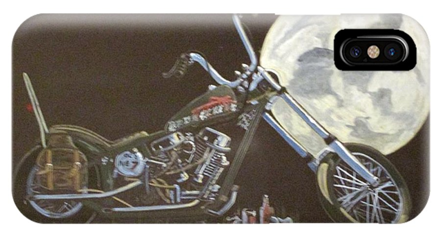 1970's Harley IPhone X Case featuring the painting 1970 Harley Chopper - Harley Moon by Russell Boothe