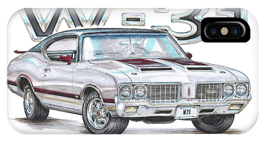 1970 IPhone X Case featuring the drawing 1970 Oldsmobile W-31 by Shannon Watts