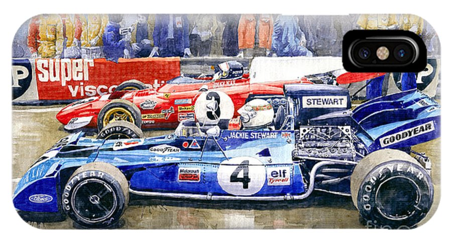 Watercolor IPhone X Case featuring the photograph 1972 French Gp Jackie Stewart Tyrrell 003 Jacky Ickx Ferrari 312b2 by Yuriy Shevchuk