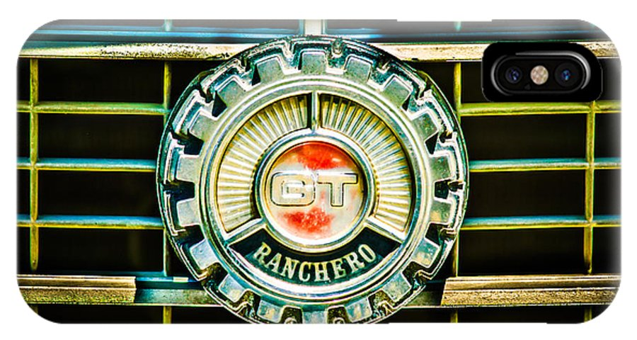 1973 Ford Ranchero Grille Emblem IPhone X Case featuring the photograph 1973 Ford Ranchero Grille Emblem -0769c by Jill Reger