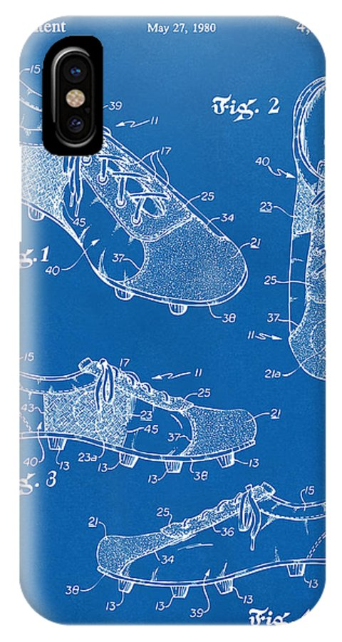 Soccer IPhone X Case featuring the digital art 1980 Soccer Shoes Patent Artwork - Blueprint by Nikki Marie Smith