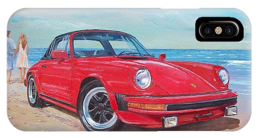 Porsche 911 Targa 1985 IPhone X Case featuring the painting 1985 Porsche 911 Targa by Sinisa Saratlic