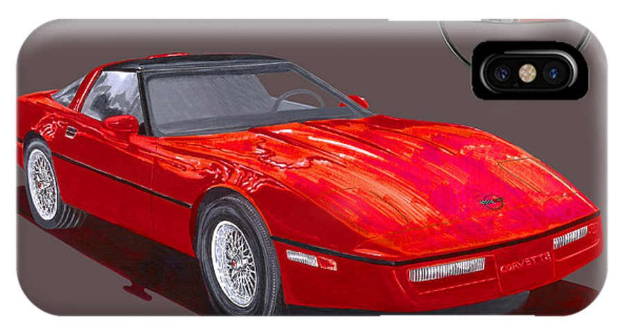 Watercolor Painting Of The 1986 Corvette By Jack Pumphrey IPhone X Case featuring the painting 1986 Corvette by Jack Pumphrey