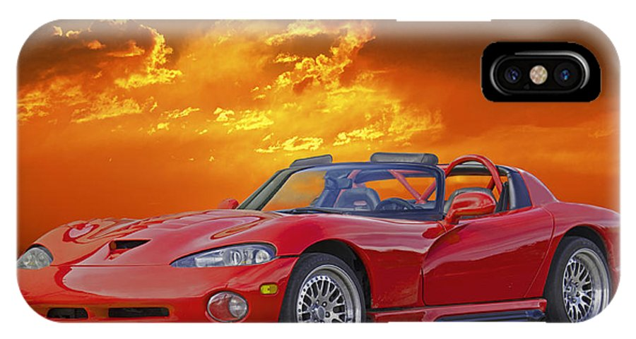 Auto IPhone X Case featuring the photograph 1995 Dodge Viper At Sunset by Dave Koontz