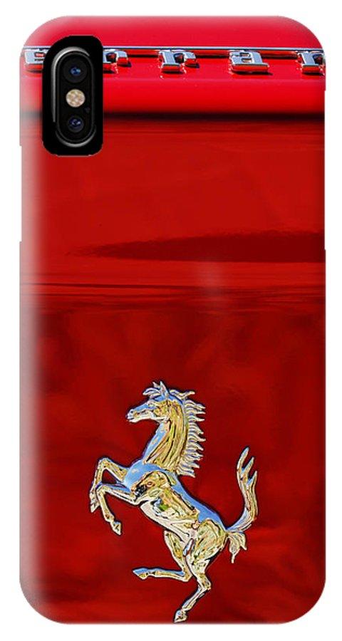 1999 Ferrari 550 Maranello Emblem IPhone X Case featuring the photograph 1999 Ferrari 550 Maranello Emblem -651c by Jill Reger