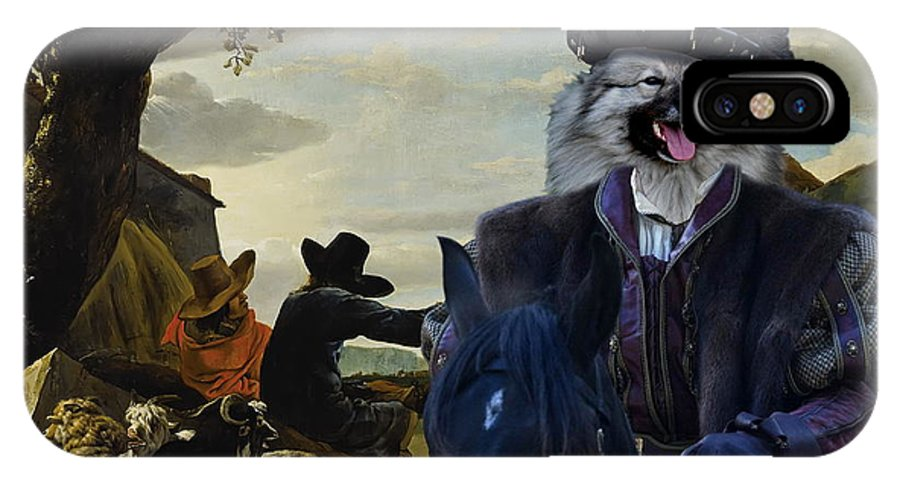 Keeshond IPhone X Case featuring the painting Keeshond Art Canvas Print by Sandra Sij