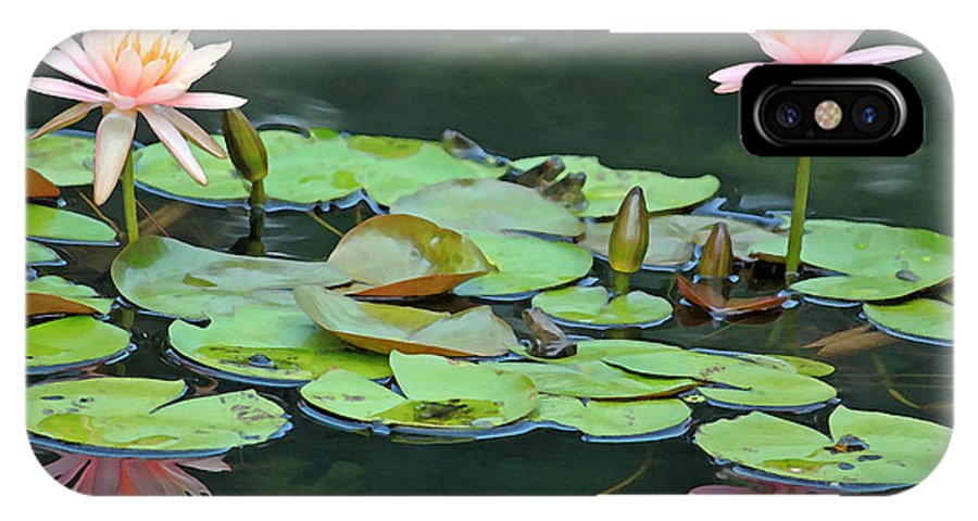 Digital Art Print IPhone X Case featuring the photograph A Day At The Lily Pond by Suzanne Gaff