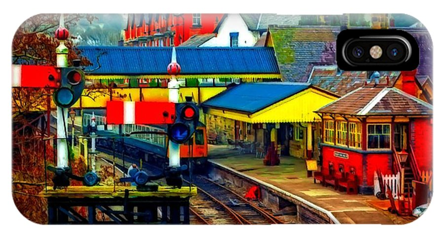 Painting IPhone X Case featuring the digital art A Digitally Converted Painting Of Llangollen Railway Station North Wales Uk by Ken Biggs