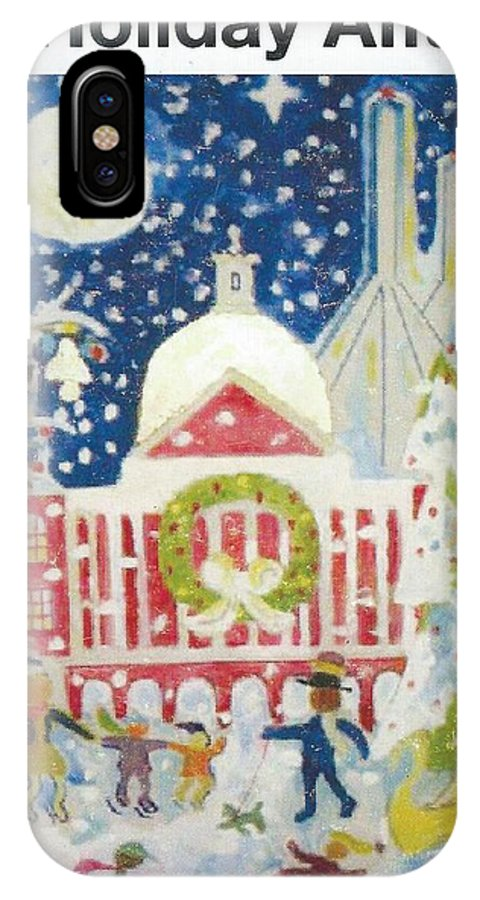 Xmas In Boston People Enjoying A Day IPhone X Case featuring the painting A Holiday Affair by Richard Mangino