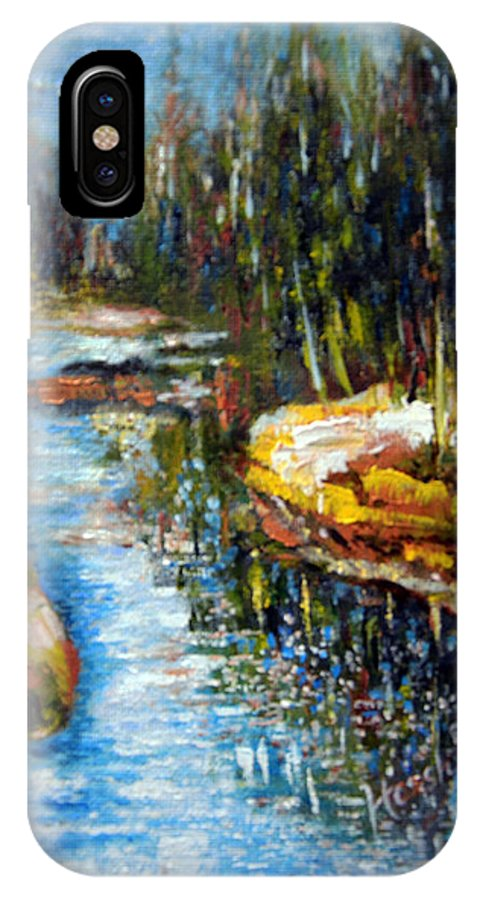 Ocean IPhone X Case featuring the painting A Morning At River Bank Park Ny by Harsh Malik