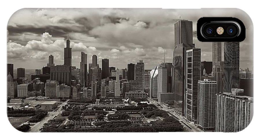 Aerial Chicago IPhone X Case featuring the photograph Aerial Chicago At Millennium Park by Joey Lax-Salinas