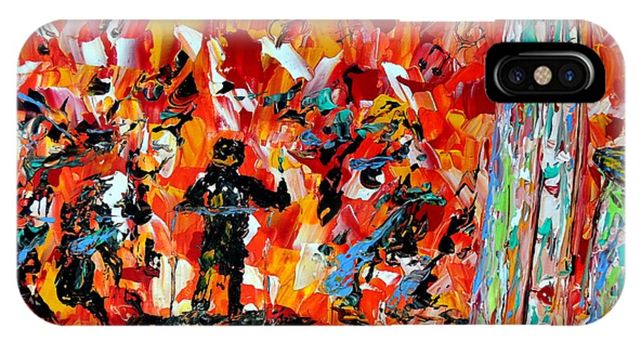 Jazz IPhone X Case featuring the painting All That Jazz by Mark Moore