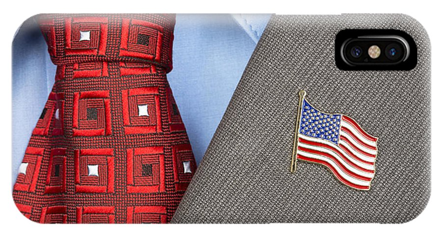 American IPhone X Case featuring the photograph American Flag Lapel Pin by Joe Belanger