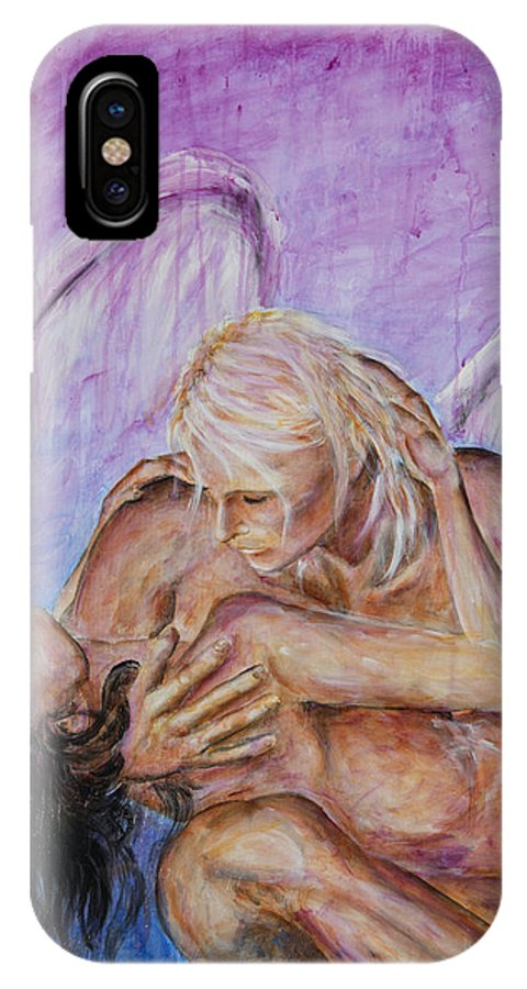 Angel IPhone X Case featuring the painting Angel In Love by Nik Helbig