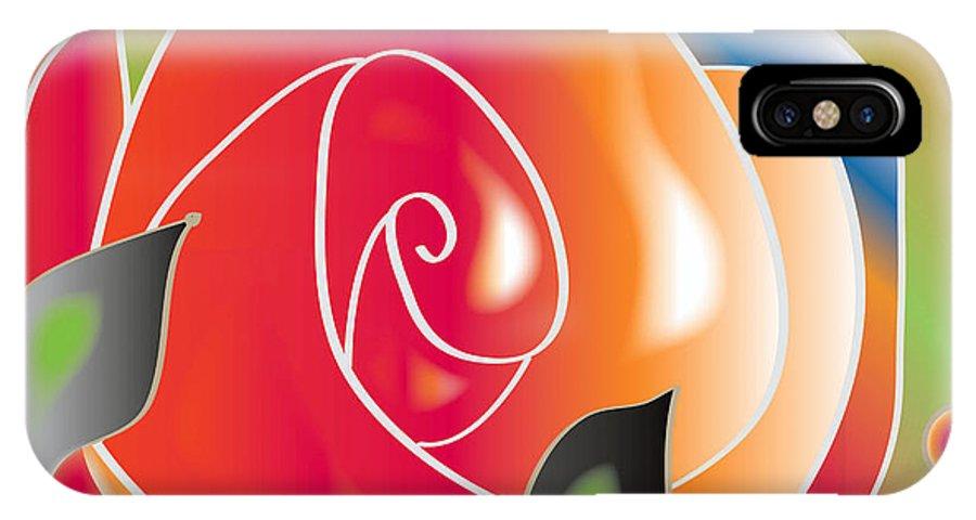 Digital Art IPhone X Case featuring the digital art Another Rose by Iris Gelbart